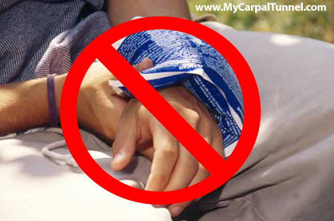 Simply putting a cold pack on your hand or wrist does not provide enough cooling action on the full surface area and it can also lead to ice burns and skin damage