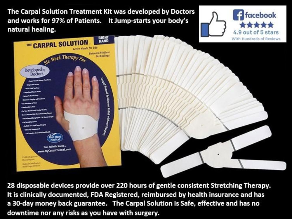 The Carpal Solution has 4.9 out of 5 stars on Facbook.